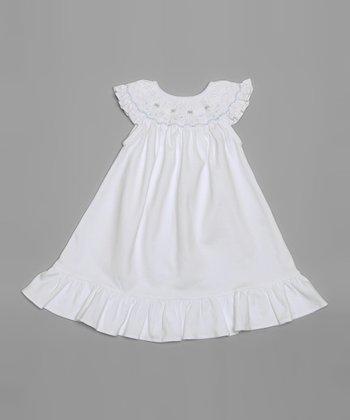 White & Coral Smocked Bishop Dress - Infant