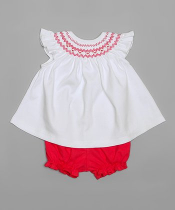 White Smocked Bishop Top & Red Bloomers - Infant