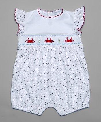 White & Red Smocked Pin Dot Crab Romper - Infant