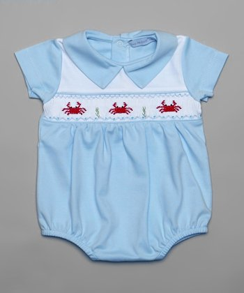 Blue & White Smocked Crab Bubble Bodysuit - Infant