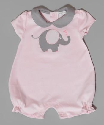 Pink & Gray Elephant Romper - Infant