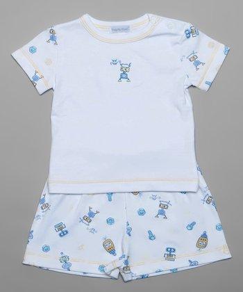 White Happy Robot Tee & Shorts - Infant
