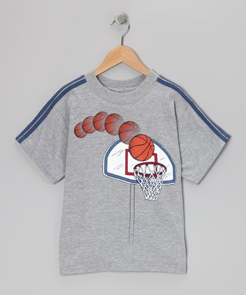 Gray Basketball Hoop Tee - Boys