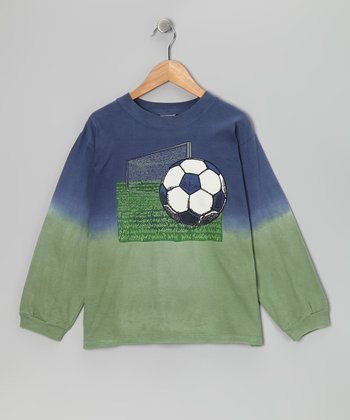 Blue & Green Soccer Field Tee - Boys