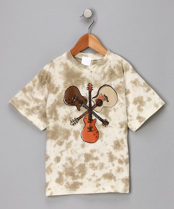 Tan & White Guitar Tee - Boys