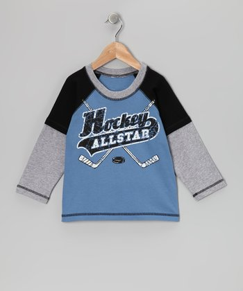Captain Blue 'Hockey Allstar' Layered Raglan Tee - Toddler
