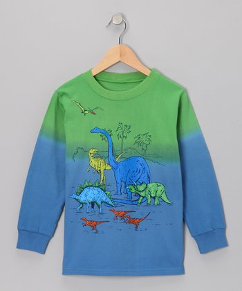 Green & Blue Dip-Dye Dino Herd Long-Sleeve Tee - Boys