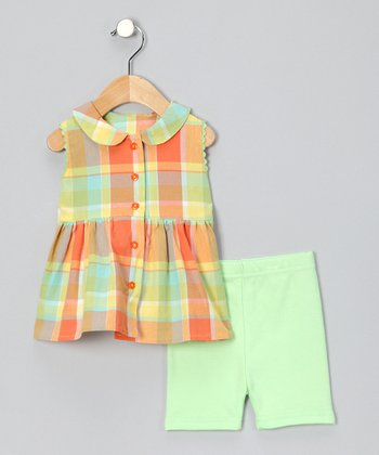 Peach Plaid Sun Tank & Shorts - Infant