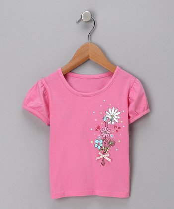 Raspberry Bouquet Puff-Sleeve Tee - Toddler
