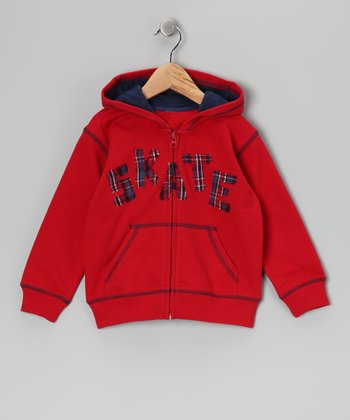Red 'Skate' Zip-Up Hoodie - Boys