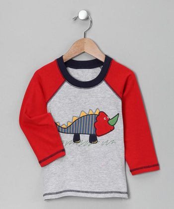 Gray Dino Raglan Tee - Toddler
