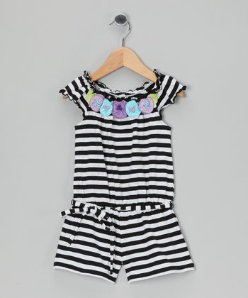 Black & White Stripe Flower Belted Romper - Toddler & Girls