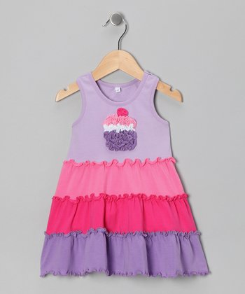 Lavender Cupcake Ruffle Tiered Dress - Infant, Toddler & Girls