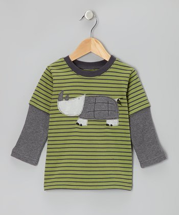 Leaf Green Stripe Rhino Layered Tee - Boys