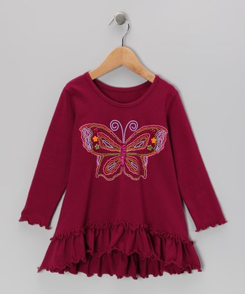 Cranberry Butterfly Ruffle Tunic - Infant, Toddler & Girls