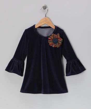 Navy Flower Velour Bell-Sleeve Tunic - Toddler & Girls