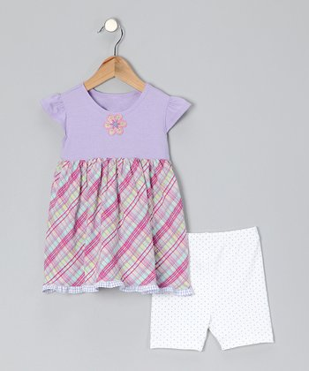 Lavender Plaid Dress & Shorts - Infant & Toddler