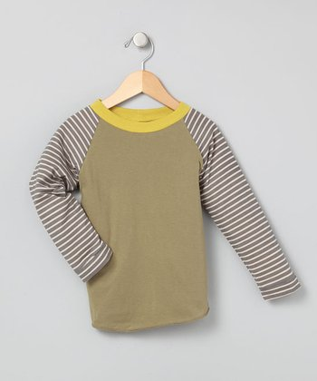 Army Green Long-Sleeve Raglan Tee - Infant, Toddler & Boys