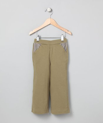 Army Green Stripe Pocket Pants - Infant, Toddler & Boys