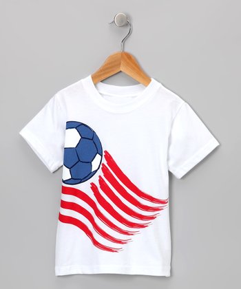 White Soccer Flag Tee - Toddler & Boys