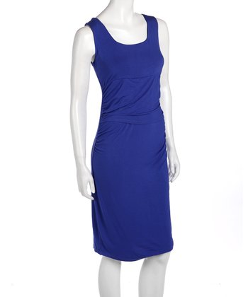 Blue Vanna Maternity & Nursing Dress - Women