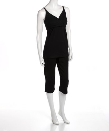 Black Maternity & Nursing Capri Pajama Set - Women