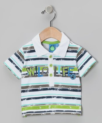 Parrot Green Stripe Polo - Infant