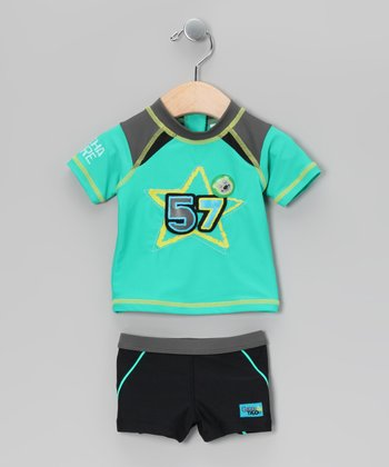 Turquoise & Black '57' Rashguard Set - Toddler