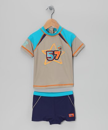 Gray & Navy '57' Rashguard Set - Toddler