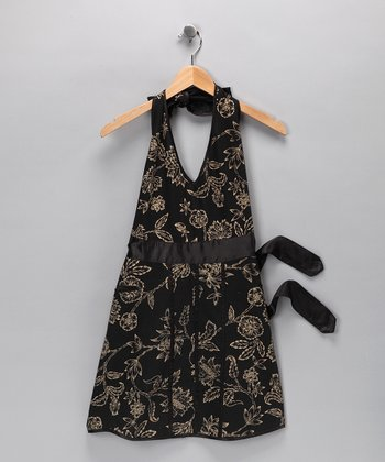 Gold Floral Apron - Women
