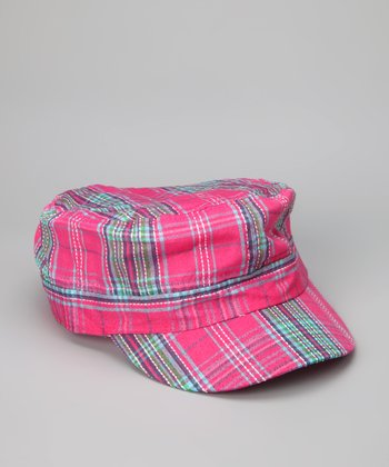 Pink Spring Plaid Newsboy Hat
