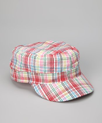 Red Spring Plaid Newsboy Hat