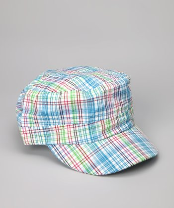 Light Turquoise Spring Plaid Newsboy Hat