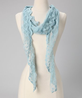 Tickled Pink Blue Lace Scarf