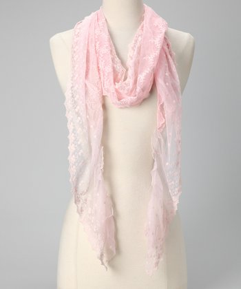 Tickled Pink Light Pink Lace Scarf