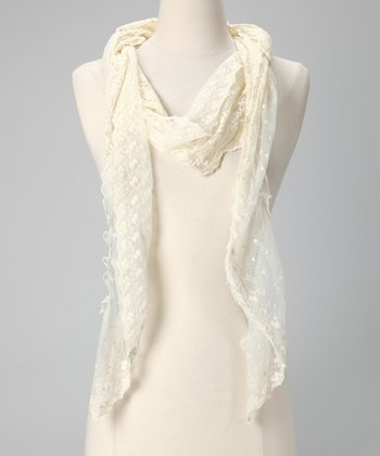 Tickled Pink Ivory Fringe Scarf