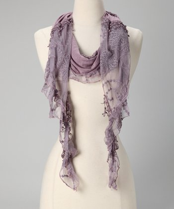 Tickled Pink Purple Fringe Scarf