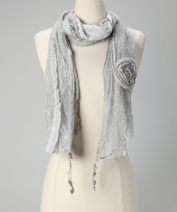 Tickled Pink Gray Vintage Lace Scarf