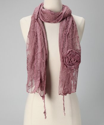 Tickled Pink Purple Vintage Lace Scarf