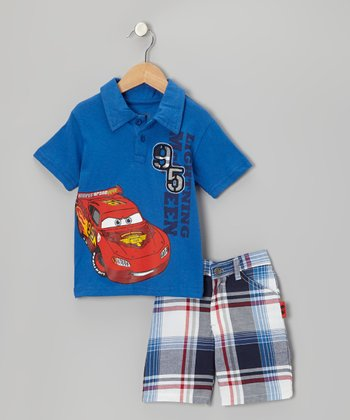 Blue 'Lightning McQueen' Polo & Plaid Shorts - Toddler & Boys