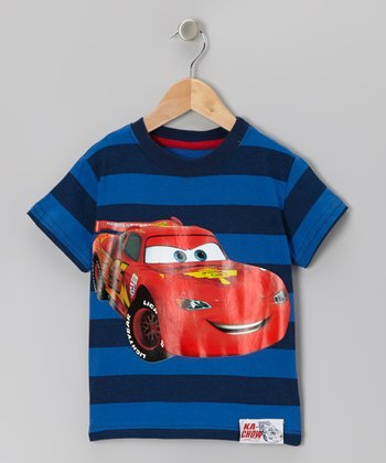 Blue & Red Stripe Lightning McQueen Tee - Toddler