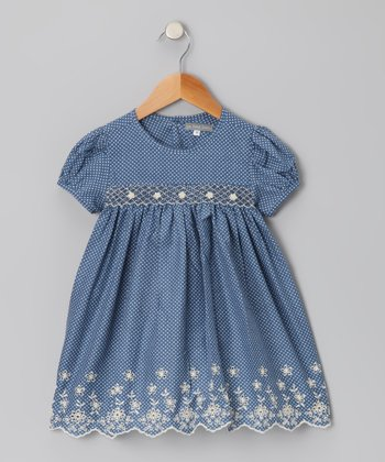 Navy Polka Dot Floral Smocked Dress - Infant & Toddler
