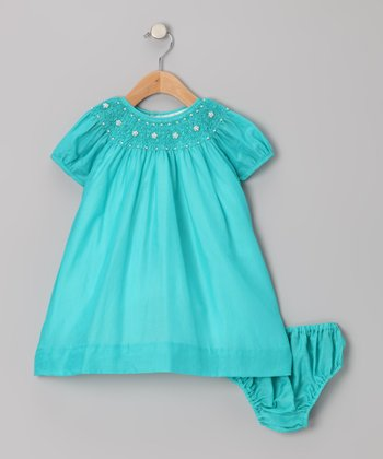 Aqua Floral Smocked Dress & Diaper Cover - Infant