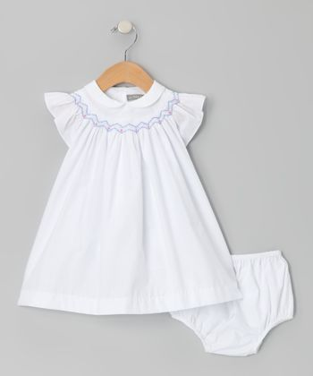 White Smocked Angel-Sleeve Dress & Diaper Cover - Infant