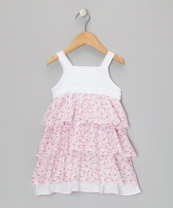 Pink & White Floral Tier Dress - Toddler & Girls