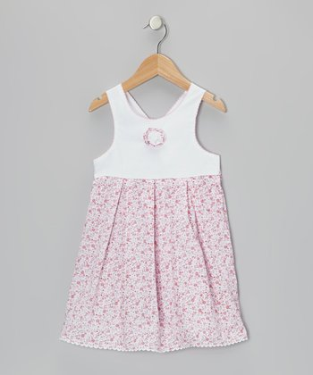 Pink & White Floral Rosette Dress - Infant, Toddler & Girls
