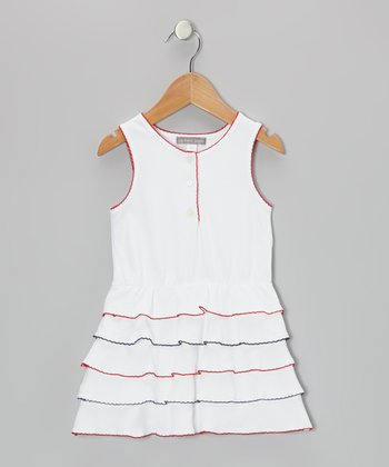 White & Red Scalloped Ruffle Dress - Toddler & Girls