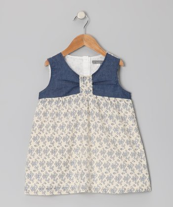 Ecru & Navy Chambray Eyelet Dress - Toddler & Girls