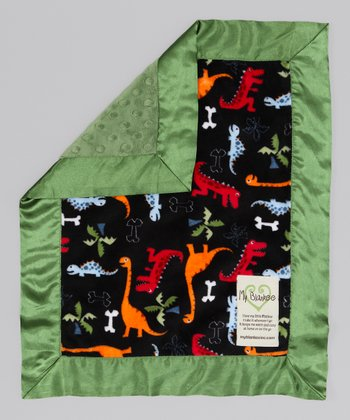 Black & Olive Green Dino Bone Security Blanket