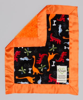 Black & Orange Dino Bone Security Blanket